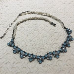 Jewelry - 5/$30 Silver Necklace with  Blue & Pearl Details